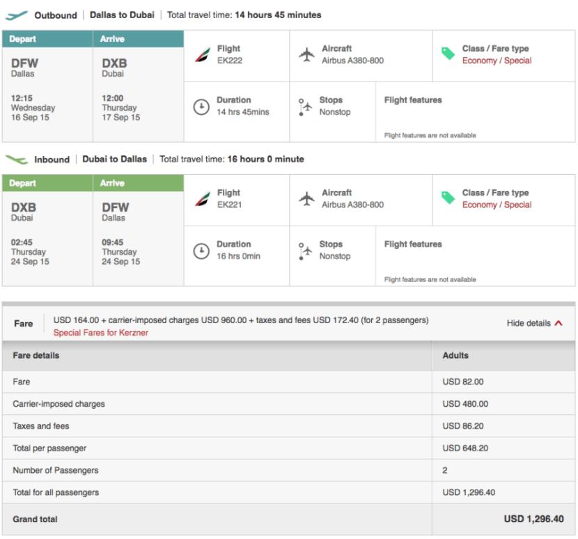 Dallas (DFW)-Dubai (DXB) for $648 on Emirates.
