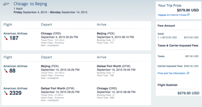 Chicago (ORD) to Beijing (PEK) for $580 on American.