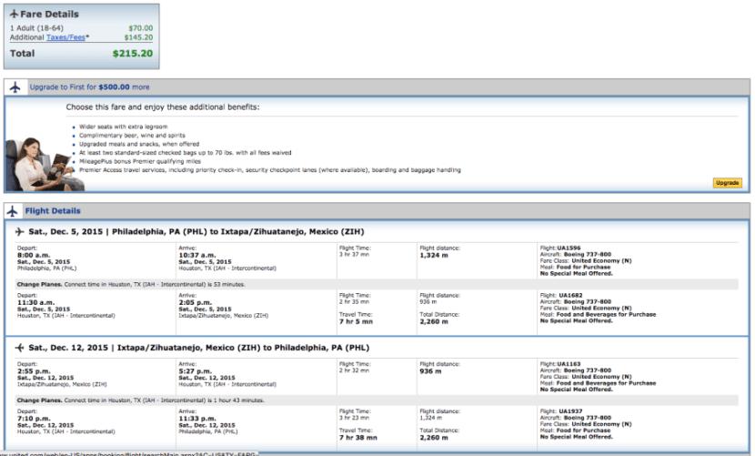 Philadelphia (PHL)-Zihuatanejo (ZIH) for $215 on United.