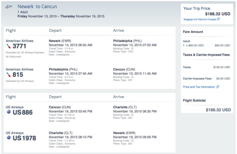 Newark (EWR)-Cancun (CUN) for $188 on AA.