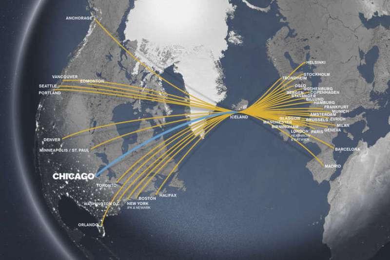 iceland air flight map