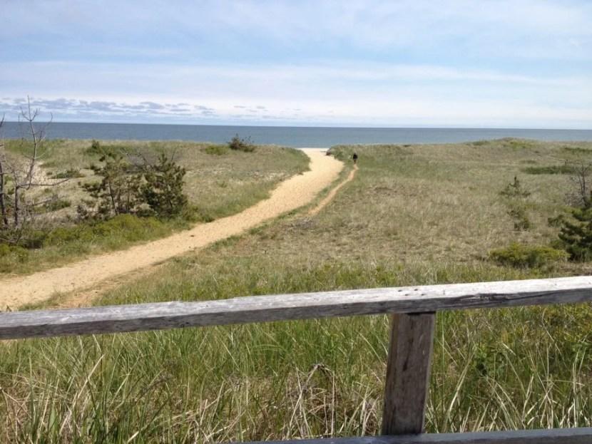 The quiet bike path along Nantucket's Surfside Beach.