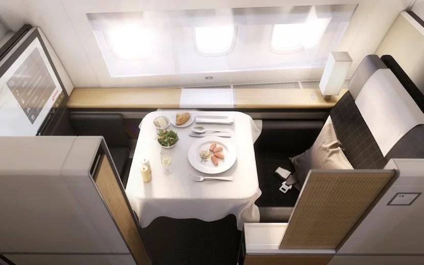 An overhead shot of the first-class seat.
