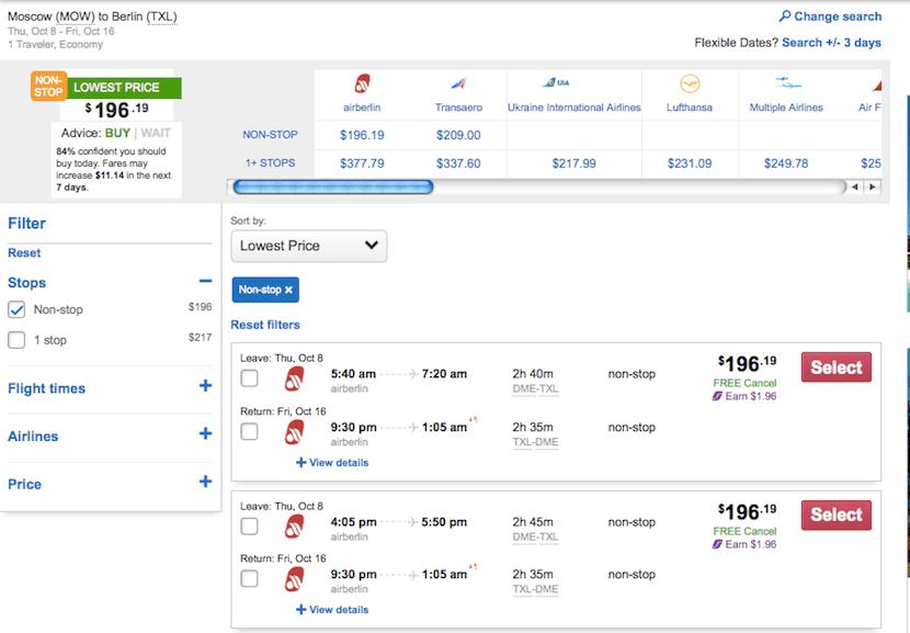 Flights to Berlin are pretty cheap.