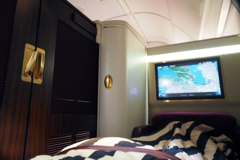 The closed suite is super cozy on a night flight.