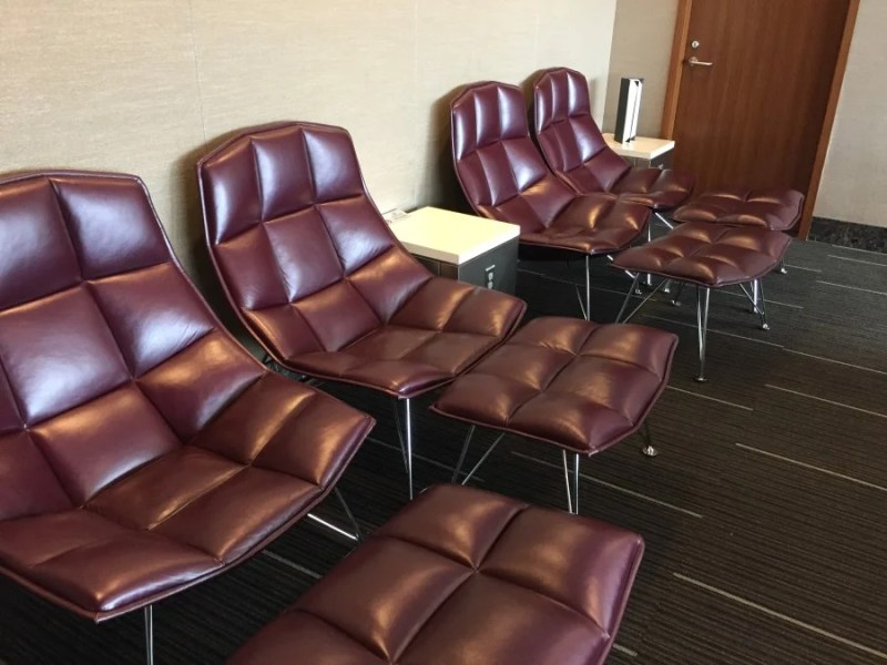 While it wasn't a true quiet room, the purple recliner chairs offered a bit of respite from the rest of the lounge.
