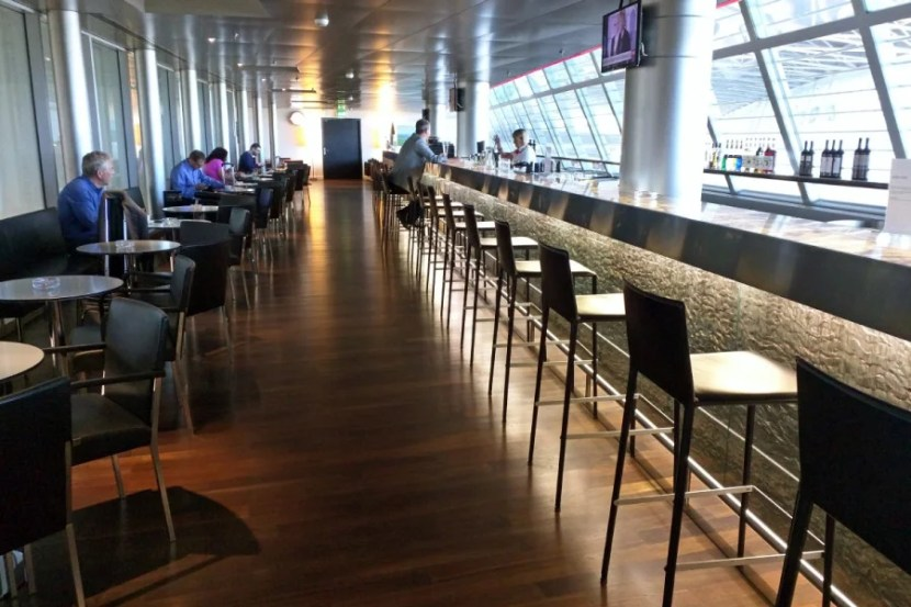 The much larger Swiss lounge in Terminal A boasts the world's longest staffed lounge bar.