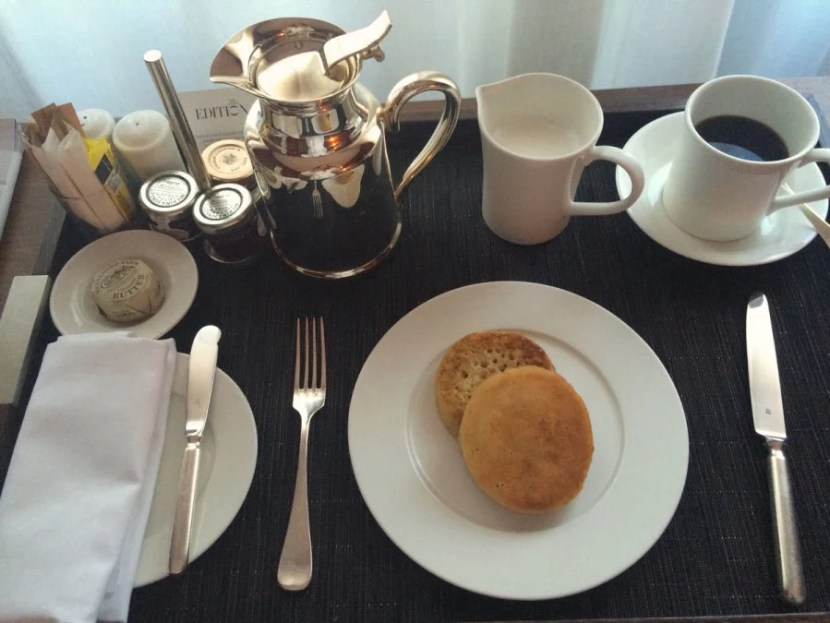 My decidedly non-decadent room-service breakfast of a single split crumpet.