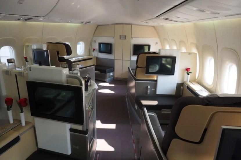 Lufthansa first-class cabin.