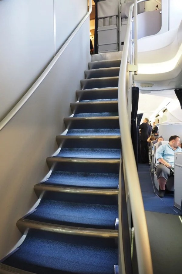 The stairs up to business class.