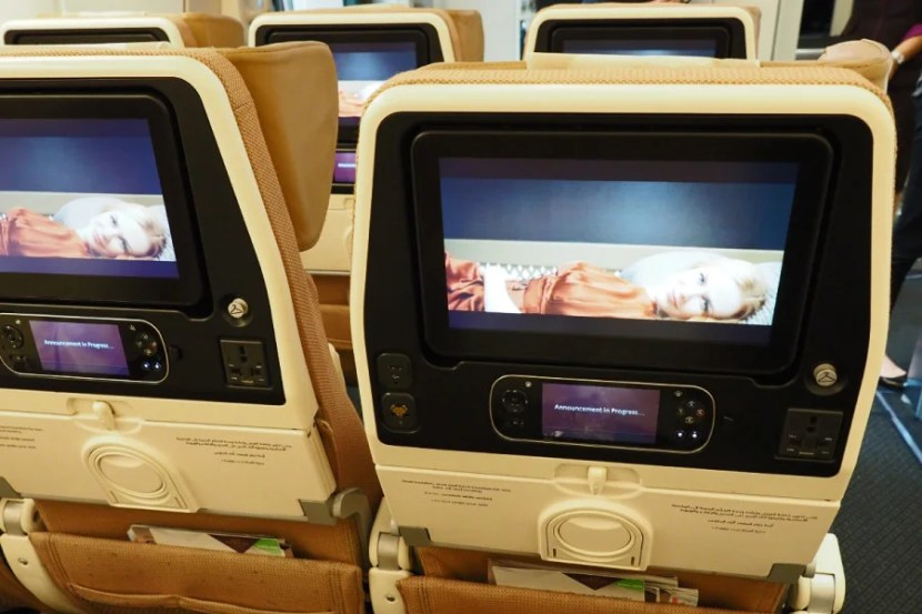 Each economy seat has an 11-inch touchscreen TV.