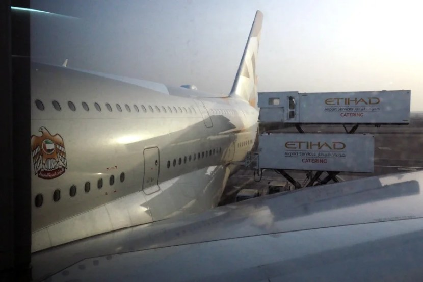 Etihad's A380 after landing in Abu Dhabi.