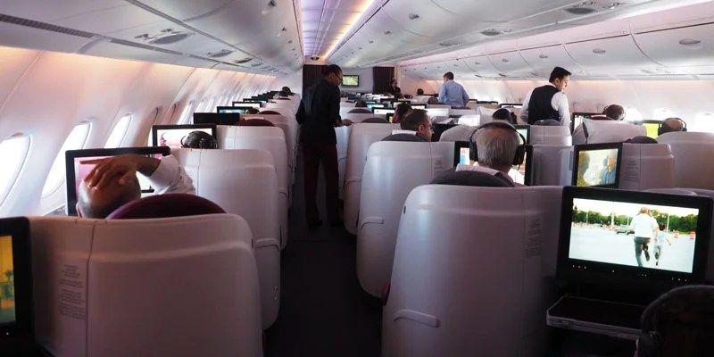 A look at Qatar's business product on this flight.