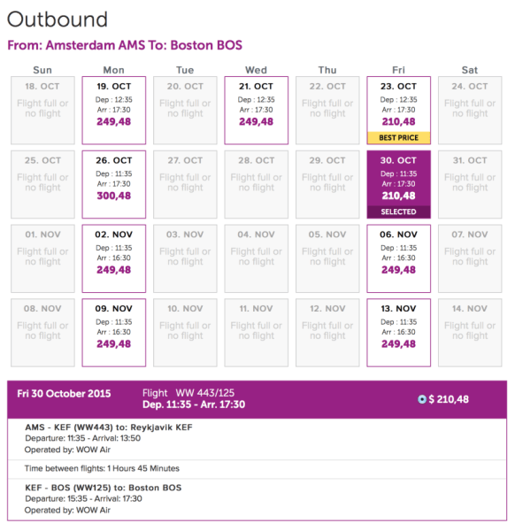 Amsterdam (AMS) - Boston (BOS) for $210 (one-way) on WOW Air.