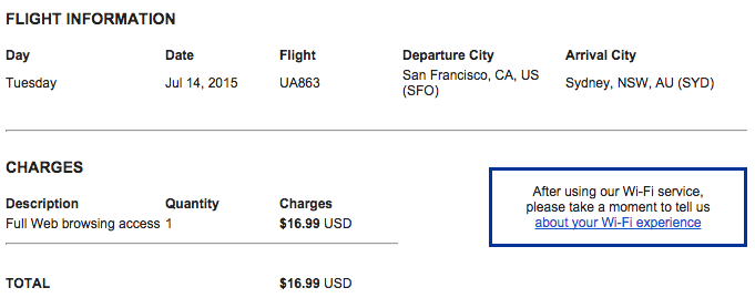 At $16.99 for the entire 14-hour flight, United's Wi-Fi is reasonably priced.