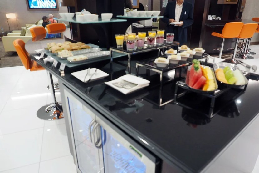 Some of the food choices in the lounge.