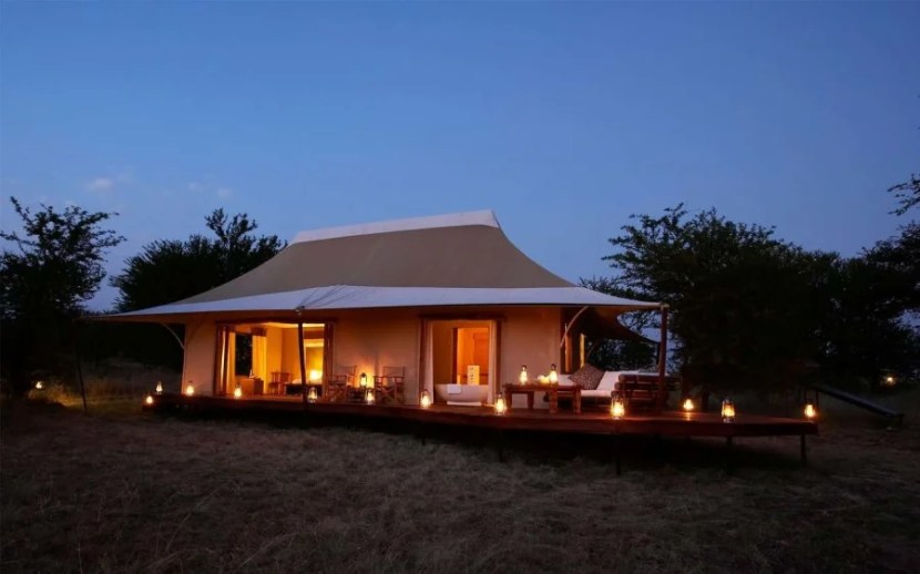 One of the tents at And Beyond' Sayari Camp in Tanzania.