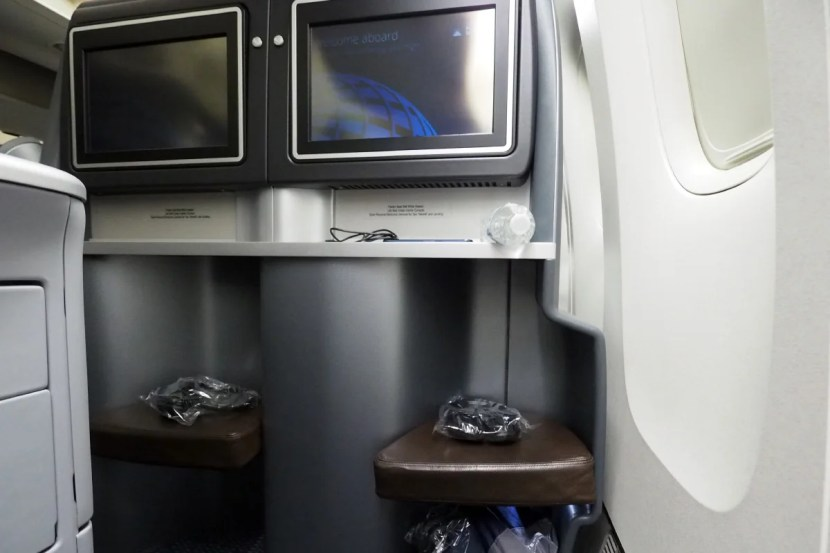 The view from a window seat in United's 777-200 2-4-2 business-class cabin.