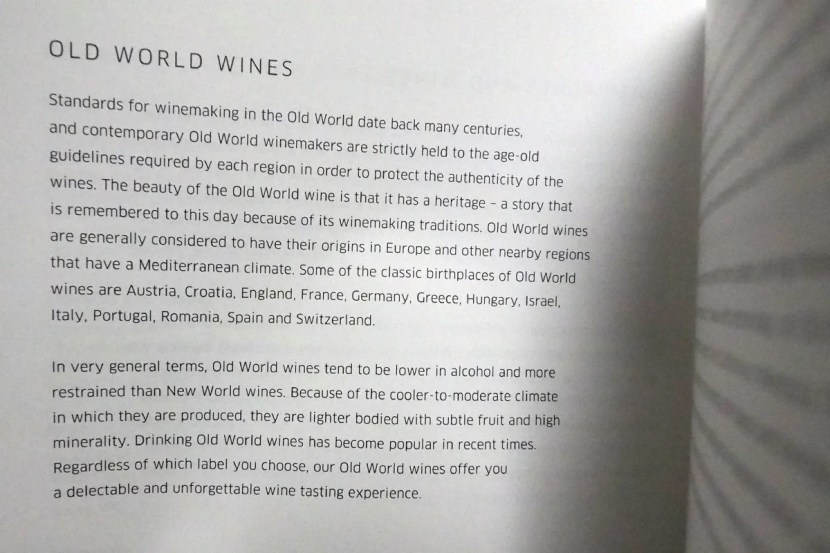 Instead of a printed wine list, United provides vague hints of what you might find on board.