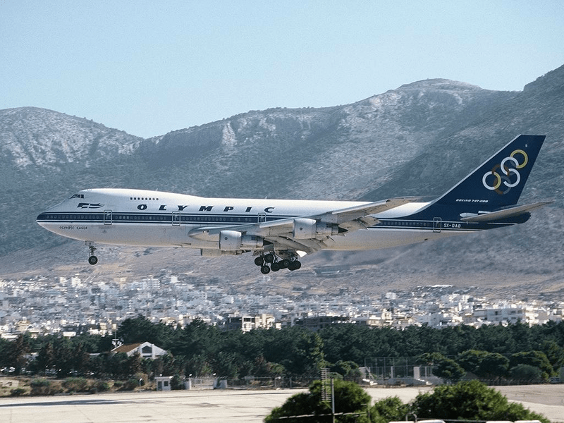 An Olympic Airways jet landing at Ellinikon back in the day. Photo credit: Alan Lebeda.
