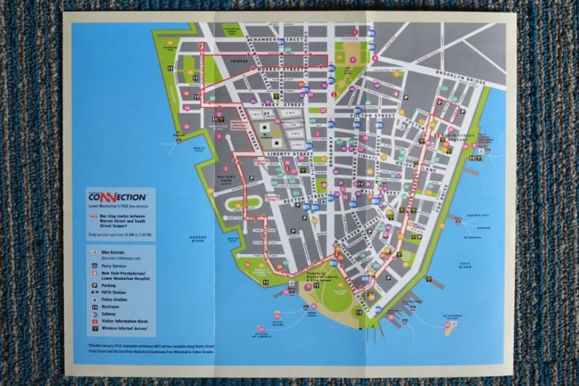 Map of the Financial District provided to hotel guests.