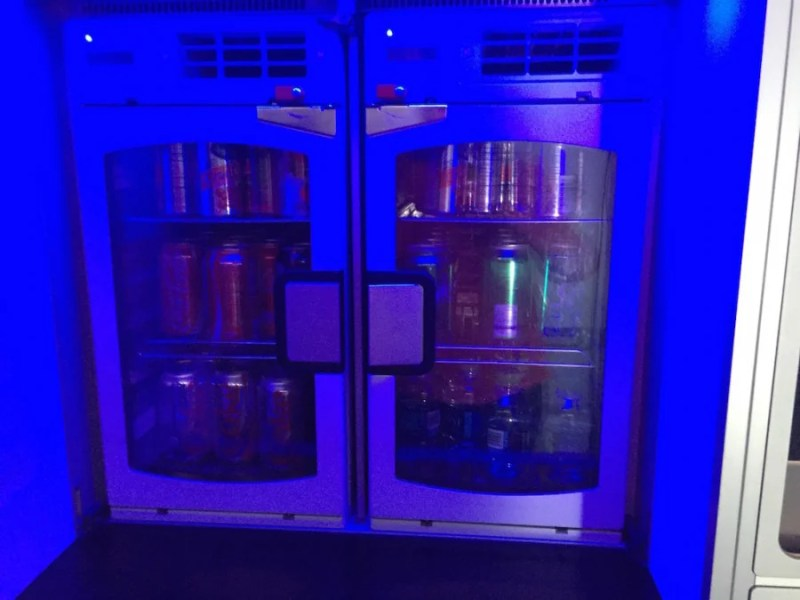 The beverage selection of JetBlue's complimentary Marketplace.