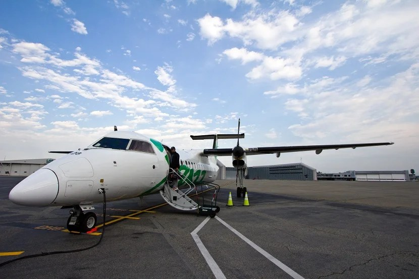 Boarding the chartered Bombardier Dash-8 turboprop.  Flights board from the Vanouver Airport South Terminal