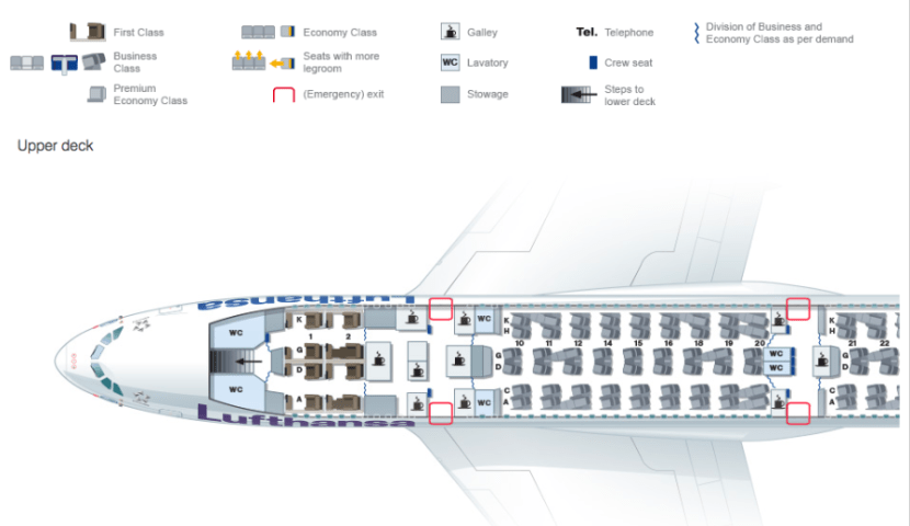 Lufthansa's A380 upper deck seat map, including first class.