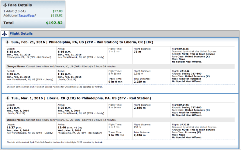 Philadelphia (Amtrak station) to Liberia, Costa Rica for $193 in February on United.