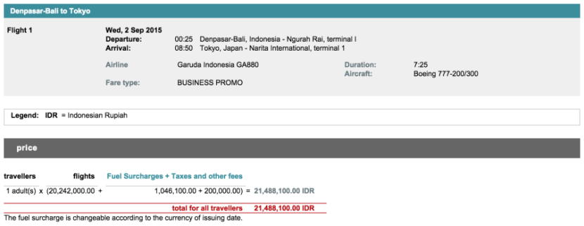 Bali to Tokyo for $1,600 in business class.