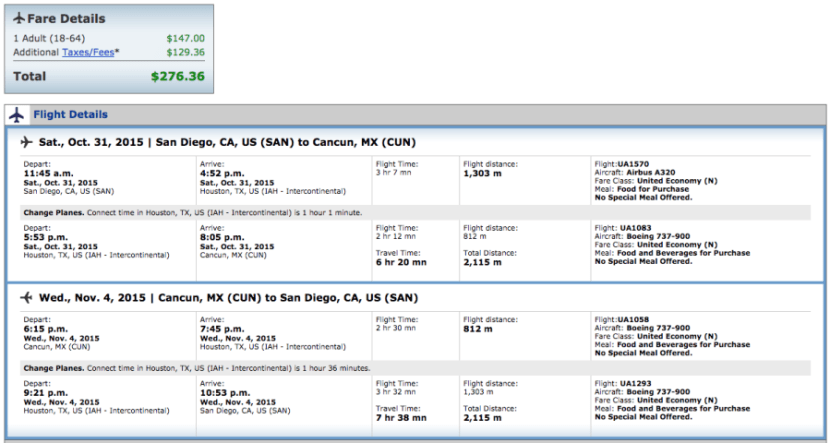 San Diego to Cancun for $276 on United.