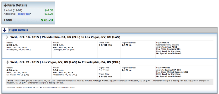 Philadelphia to Las Vegas for $76 on American and United.