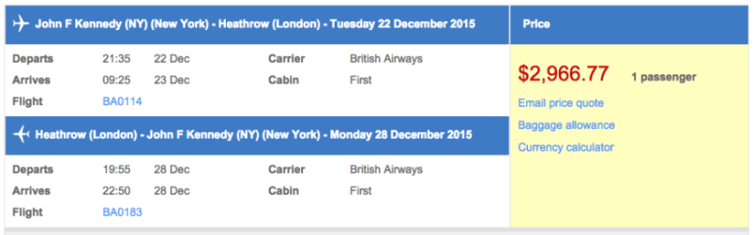 New York (JFK) to London (LHR) in first class on British Airways for $2,967.