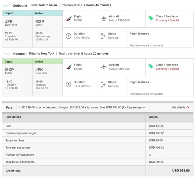 New York (JFK)-Milan (MXP) for $499 per person on Emirates.