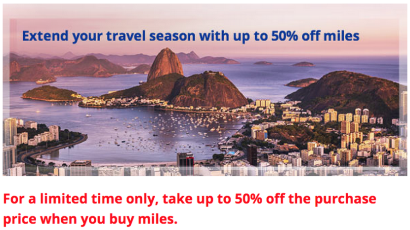 If you're lucky, you might be targeted for a 50% discount on purchased miles.