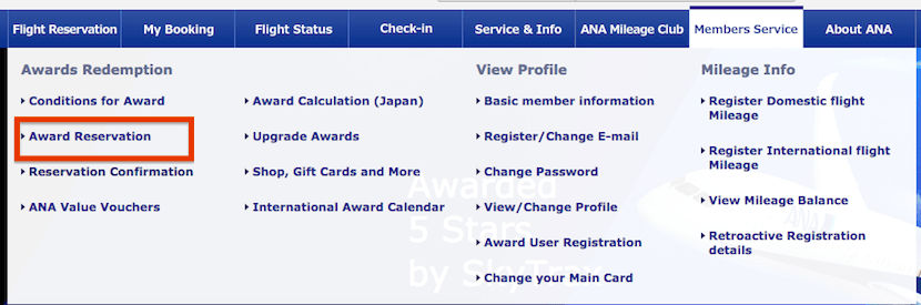 From the 'Members Service' header select 'Award Reservation' to begin your search.