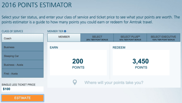 Amtrak's new redemption amount for a $100 coach or business ticket.