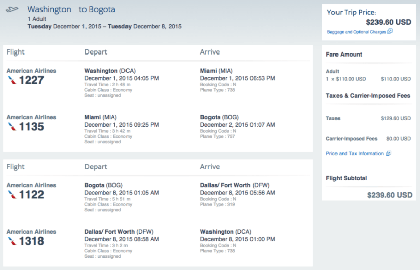 Washington, D.C. (DCA) - Bogota (BOG) for $240 round-trip on AA.