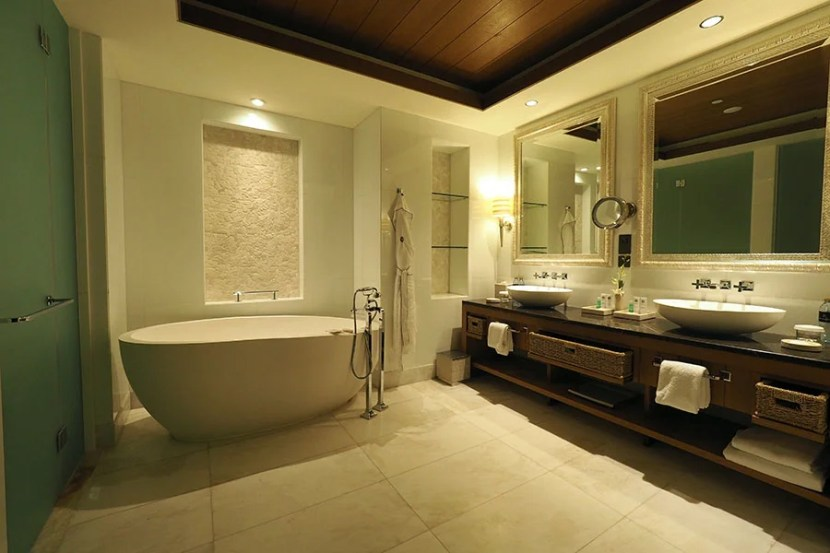 The master bathroom is incredibly spacious.