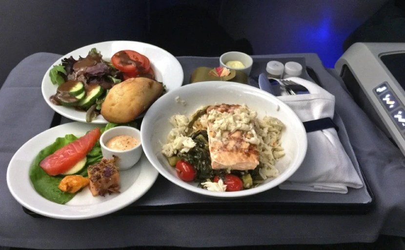 Eating dinner for breakfast on United.