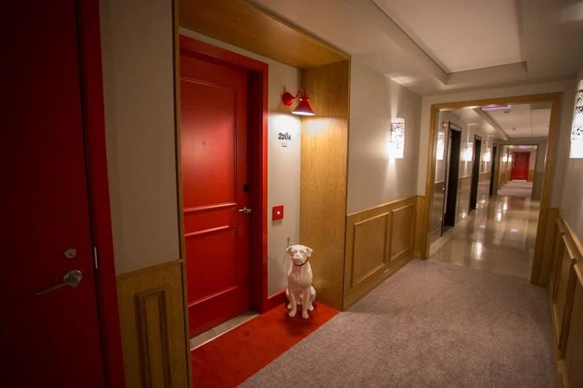 Hallways were clean, and there was even a cute (fake) dog in front of some of the rooms.