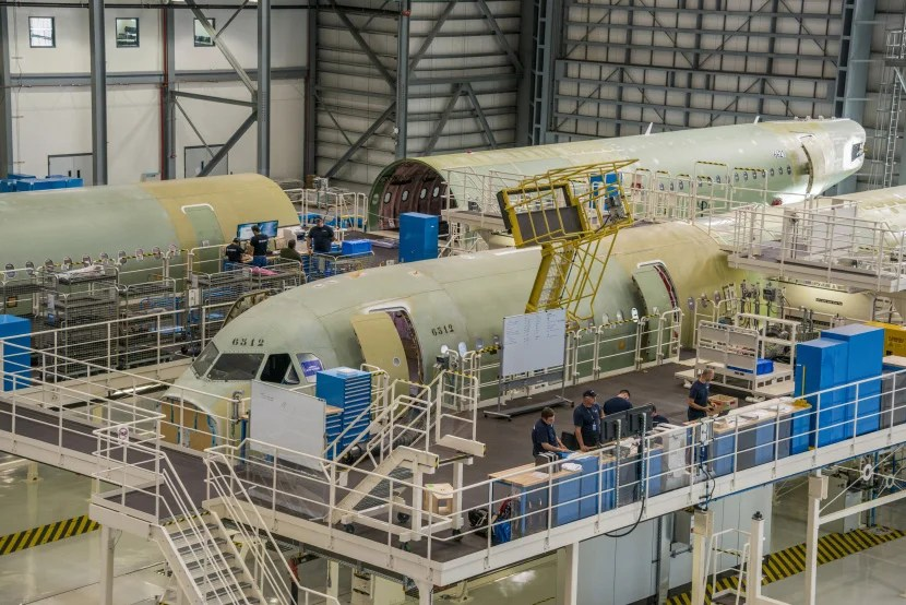 A321 fuselage components at the new Airbus facility.