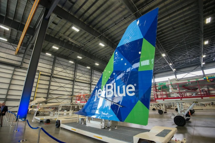 A JetBlue A321 tail at Airbus' Mobile plant.