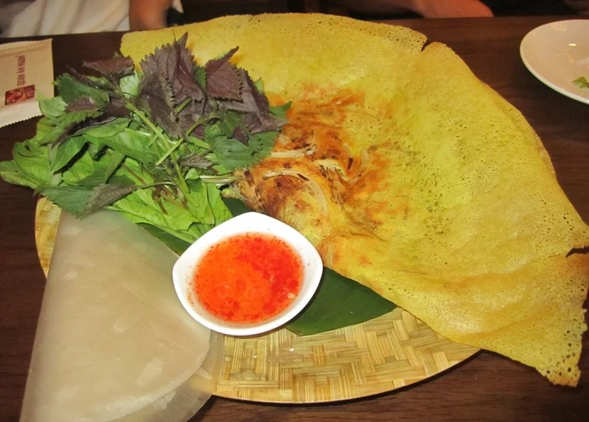 The Banh Xeo, or crispy pancake is delicious