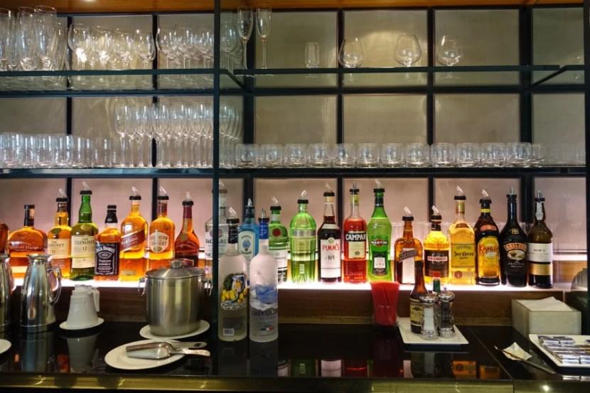 BA first-class lounge liquor.
