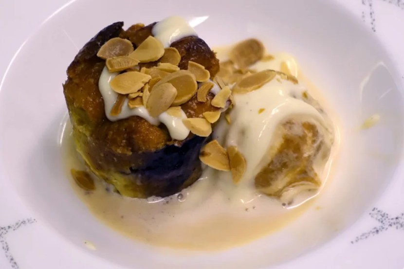 Bread pudding with ice cream was the final lunch course.