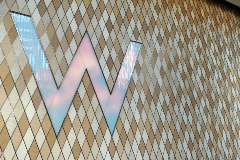 A wall at the W's ground-floor lobby.