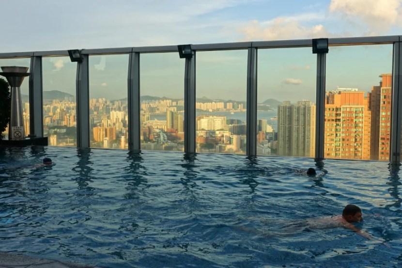 Rooftop pool views.