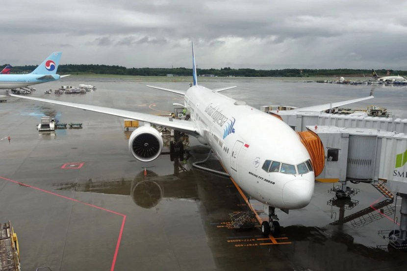 Our plane on the ground in Tokyo.