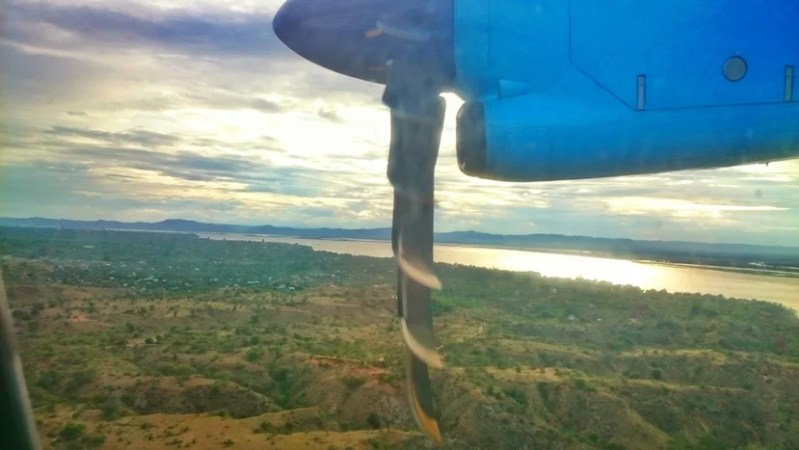A view of the Irawaddy River from the plane before landing in Bagan